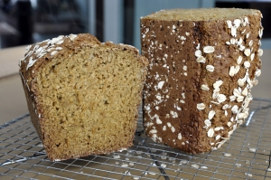 Irish brown bread halved