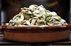 Raw Mushroom Salad served