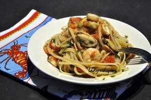 seafood pasta served