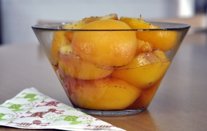 poached peaches bowl