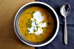 asian carrot soup served