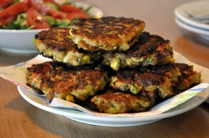 Roasted vegie burgers served