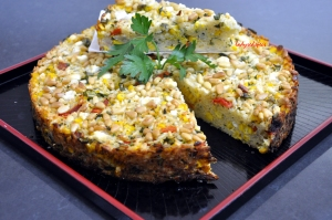 Sweet Corn Red pepper risotto cut
