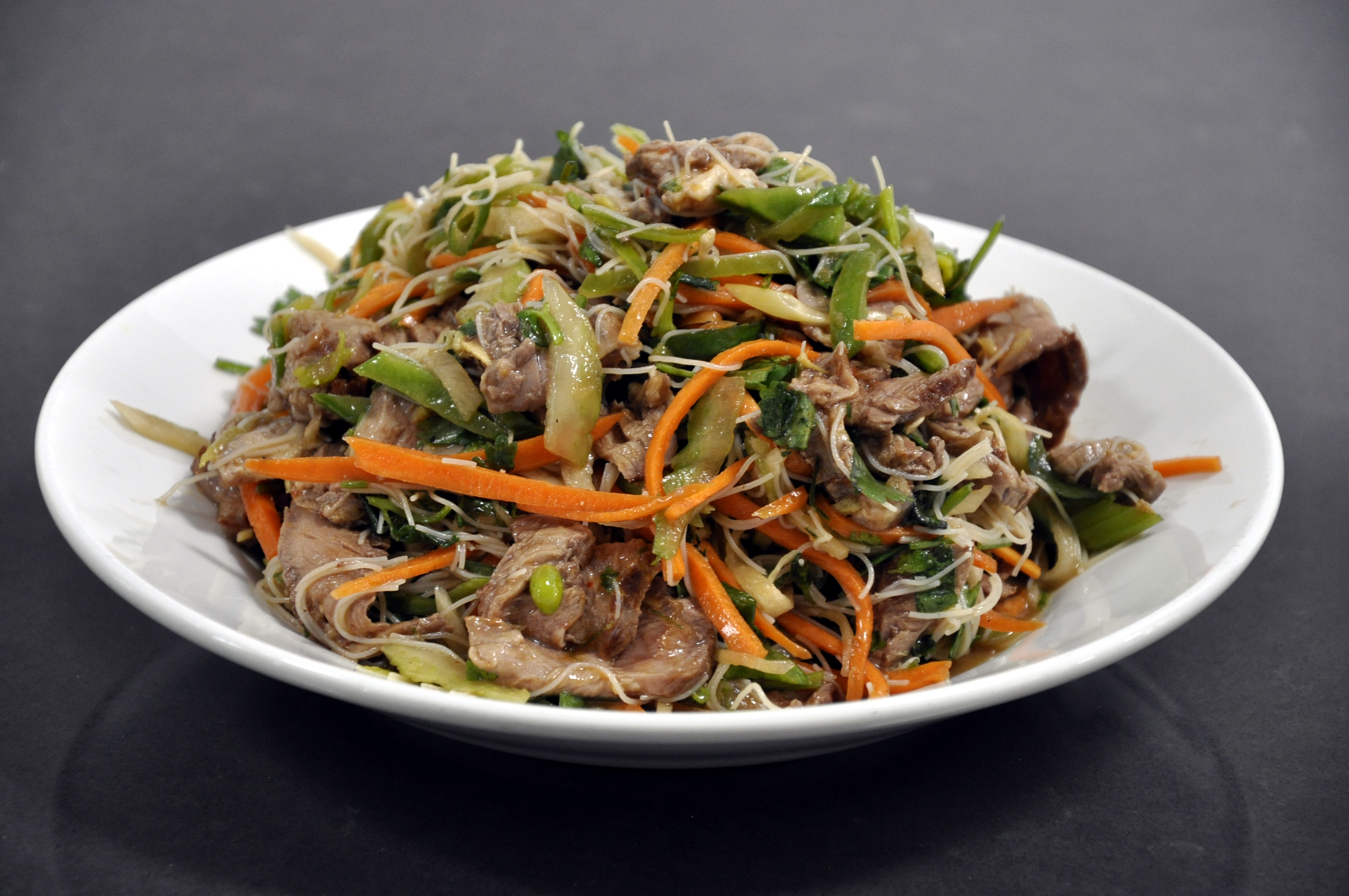 Thai beef salad served
