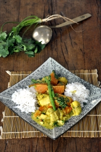Thai fish curry served 2