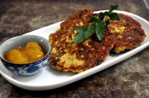 zucchini corn & carrot fritters served