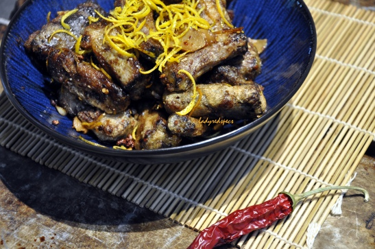 Crispy orange peel beef served 4