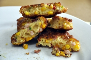 corn fritters eating