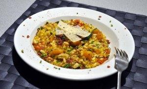 pumpkin prosciutto parmesan risotto served