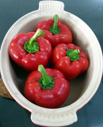 sweet plump red capsicums