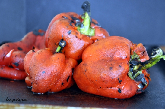charred red capsicums