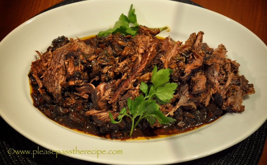 Braised Beef with Guinness Mushrooms Molasses | Please Pass the Recipe