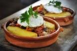 Crunchy polenta, caponata, poached egg