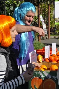 Orange sellers at the Slow Food Market