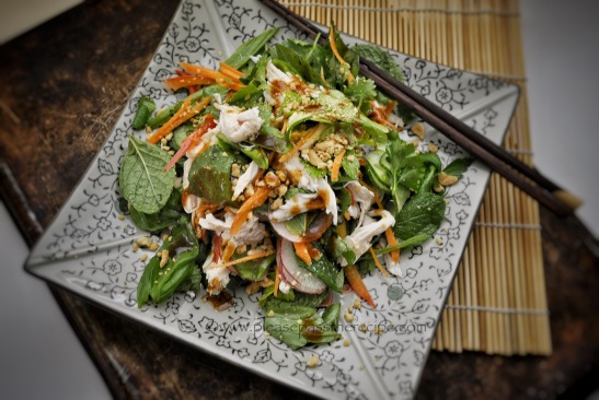 chicken salad, hoi sin dressing
