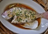 Steamed Baby Snapper with Ginger and garlic Chives