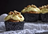 Carrot Cupcakes, lemon cream cheese topping and walnuts