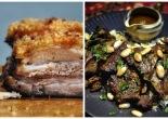 A collage of crispy roast pork belly an slow roasted lamb shoulder