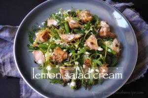 Hot smoked salmon salad with lemon salad cream