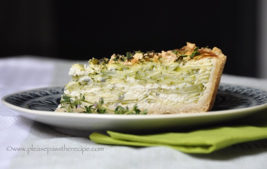 Zucchini tart with lemon, fennel, feta and thyme