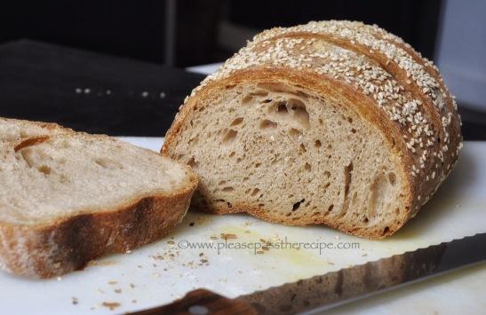 100% Spelt sourdough loaf, sliced