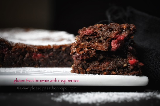 flourless chocolate brownie with raspberries