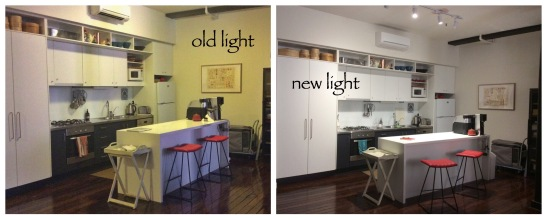 Kitchen light, before & after
