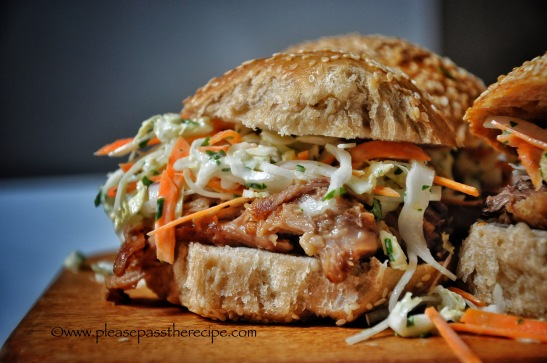 Maple mustard pulled pork burgers