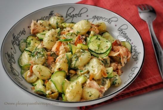 Zucchini, Hot Smoked Salmon and Dill Cream Sauce
