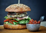 Turkey burger with zucchini and feta