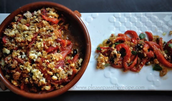 Charred red pepper gratin