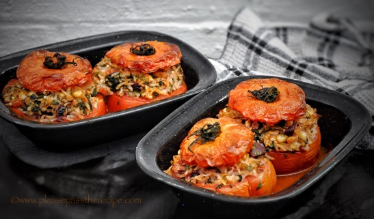 Stuffed sweet summer tomatoes
