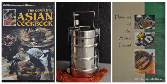 Indian cookbook and tiffin carrier