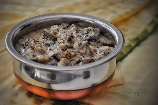 eggplant, crushed mustard seeds, yoghurt