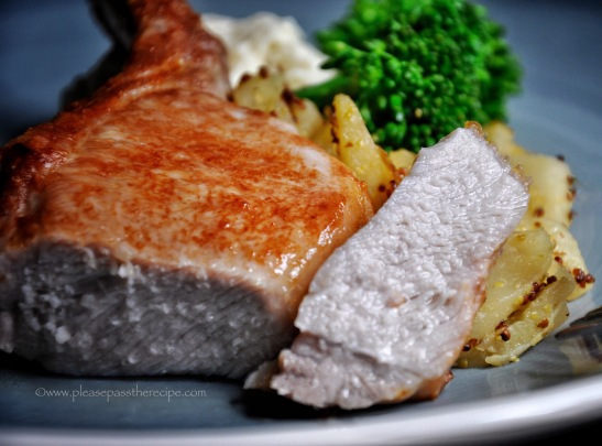 succulent brined pork cutlet