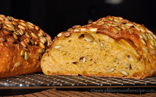 Pumpkin and Pepita Spelt Sourdough Bread