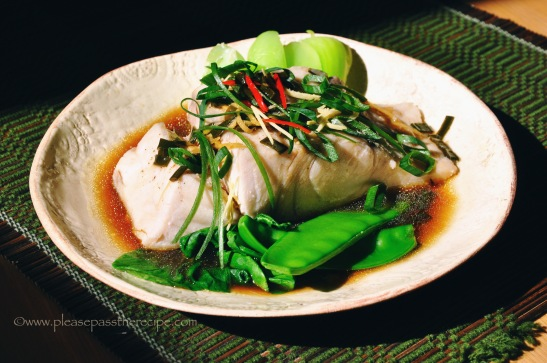 Steamed Barramundi with ginger and spring onion sauce