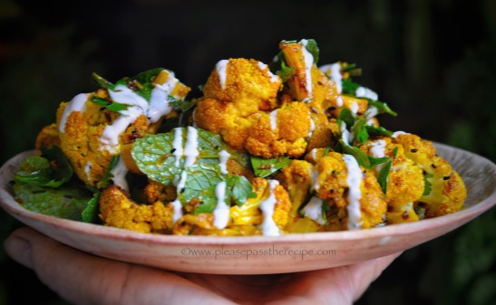 Roasted Cauliflower with Indian Spice and Yoghurt Sauce