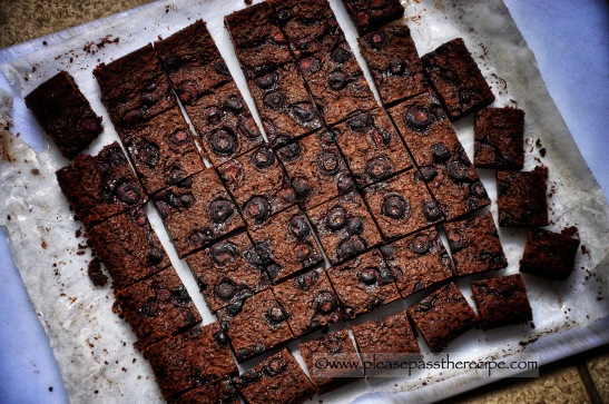 Luscious Sticky Fudgy Brownies with Blueberries