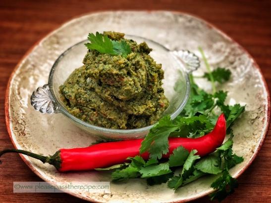coriander and peanut paste