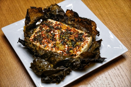 Feta baked in vine leaves