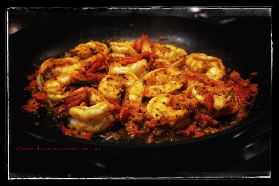 spiced prawns and red peppers